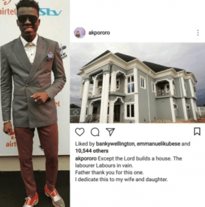 Comedian AY Congratulates Akpororo As He Completes His Lagos Mansion (Photo)